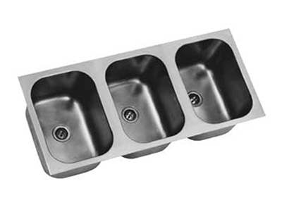 Eagle Group FDI-14-16-9.5-3 Drop-In Sink Bowl - 3-Compartment, 20-ga Stainless, 14x16x9.5