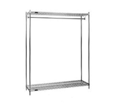 "Eagle Group GR1860C 18x60"" Coat Rack - Wire Top & Bottom Shelf, 74"" Post, Chrome"