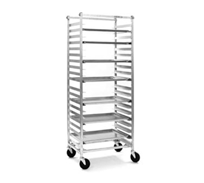 "Eagle Group OUR-2611-5 Full Height Mobile Utility Rack For 18x26"" Tray, 5"" Center, Side Load, Aluminum"