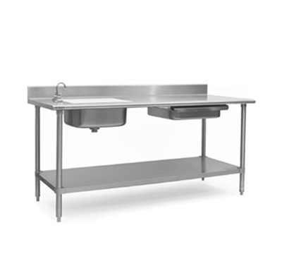 "Eagle Group PT3072 72x30"" Prep Table - 4.5"" Backsplash, Stainless Sink"