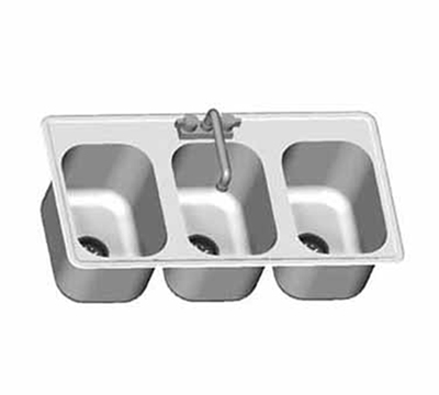 "Eagle Group SR14-16-9.5-3 Drop-In Sink Bowl - (3) 16x14x9.5"" Bowl, Deck Mount Gooseneck Faucet"