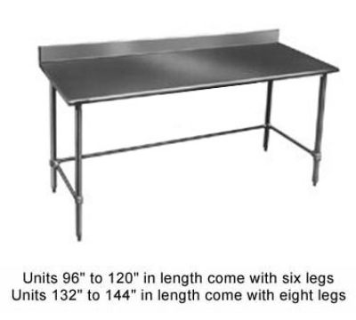 "Eagle Group T3072GTB-BS 72x30"" Work Table - 16/430 Top, Splash, Side & Rear Crossrail"