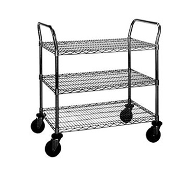 "Eagle Group U3-2460C Utility Cart - (3) 24x60"" Wire Shelves & Handles, Chrome"
