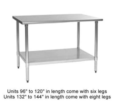 "Eagle Group T2472B-1X 72x24"" Work Table - 16/430 Top, Galvanized Undershelf"