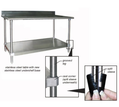"""Eagle Group T3072SEB-BS-1X 72x30"""" Work Table - 14/304 Top, Splash, 18-Gauge Stainless Under"""