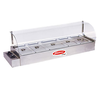 Fleetwood KBM-100 44-in Bain-Marie Hot Food Display w/ Curved Glass Sneeze Guard, 115 V