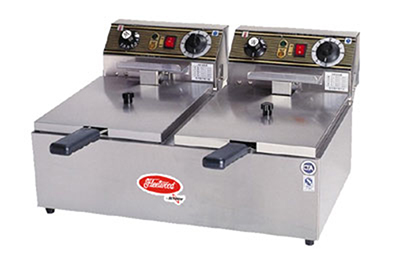 Fleetwood EF102-2 20-lb Countertop Double Fryer w/ Thermostatic Controls, Timer, 220 V