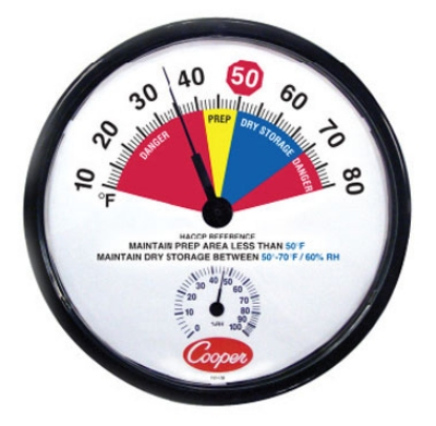 Cooper Instrument 212-158-8 Prep Area Dry Storage Thermometer, 10 To 80-Degrees F
