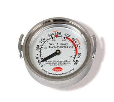 Cooper Instrument 3210-08-1-E Surface Grill Thermometer, Dial Typ, Turner Grips, 100 to 600 F
