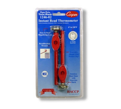 Cooper Instrument 1246-02-2 1-in Twin Pack Test Pocket Thermometer, 0 To 220-Degrees F