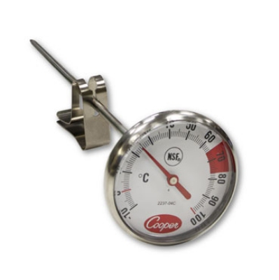 Cooper Instrument 2237-04C-8 Espresso Thermometer w/ Vessel Clip, 10 To 120-Degrees C