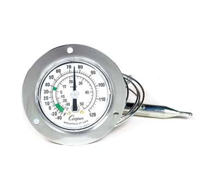 Cooper Instrument 6142-13-3 Dual Scale Dial Thermometer w/ 2-in Front Flange, -40 To 120-Degrees F