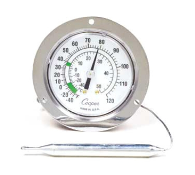 Cooper Instrument 7112-02-3 2.5-in Panel Type Thermometer w/ Front Flange, -40 To 60-Degrees F