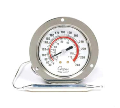 Cooper Instrument 7112-05-3 2.5-in Panel Type Thermometer w/ Front Flange, 40 To 240-Degrees F