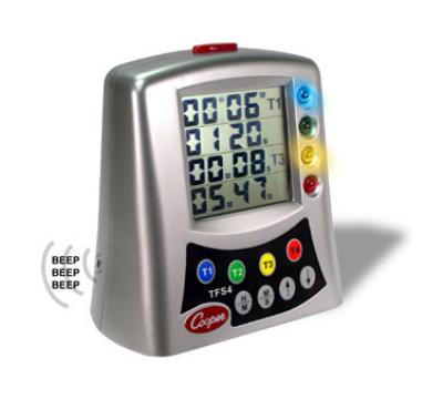 Cooper Instrument TFS4-0-8 Multi-Station Timer, 4-Station LCD w/ Alerts, Countdown/Count Up