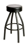 Oak Street Mfg SL2132-BLK Swivel Bar Stool w/ Tapered Frame & Button Top Round Black Seat