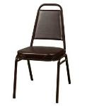 Oak Street Mfg SL2082-ESP Stacking Chair w/ Tapered Square Back, Vinyl Back & Seat, Brown