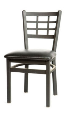 Oak Street Mfg SL2163 Dining Chair w/ Metal Window Pane Bac