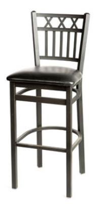 Oak Street Mfg SL2164-1 Bar Stool w/ Foot Rest & Metal Vertical X Back, Black Powder Frame