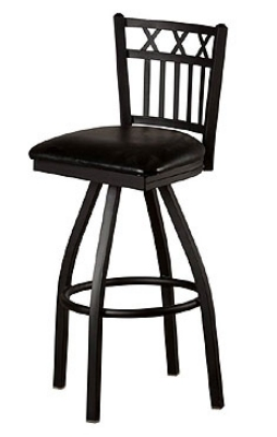 Oak Street Mfg SL2164-S Swivel Bar Stool w/ Metal 3-X Vertical Back, Black Powde