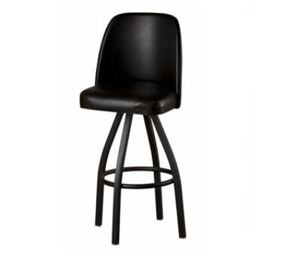 Oak Street Mfg SL3136-BLK Swivel Bar Stool w/ Single Ring & Black Vinyl Foam Bucket Seat
