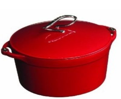 Lodge E6D40 6-qt Cast Iron Dutch Oven, Enamel, Patriot Red