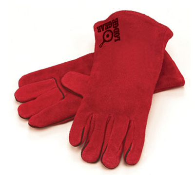 Lodge A5-2 13.5-in Camp Gloves w/ 400-Degree Heat Protection, Red Leather