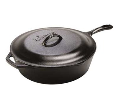 Lodge L10CF3 5-qt Deep Cast Iron Seasoned Skillet w/ Cover