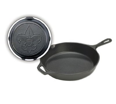 Lodge L10SK3BS 12-in Round Cast Iron Skillet w/ Boy Scout Logo on Bottom