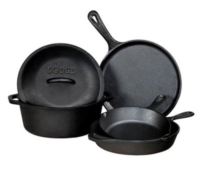 Lodge L5HS3 5-Piece Cast Iron Cooking Set w/ Griddle, 2-Skillets, Dutch Oven & Cover