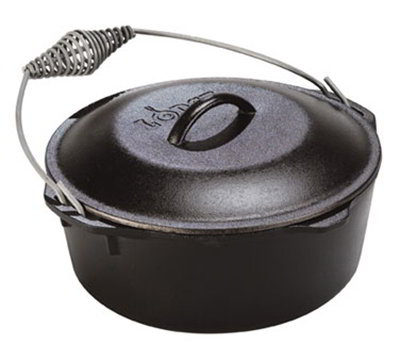 Lodge L12DO3 13.25-in Round Cast Iron Dutch Oven w/ 9-qt Capacity & Spiral Handle
