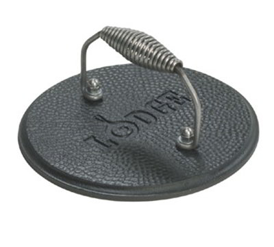 Lodge LGPR3 7.5-in Round Cast Iron Grill Press w/ Cool Grip Spiral Handle & Hammered Finish