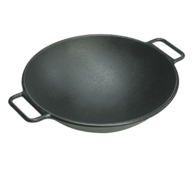 Lodge P14W3 14-in Round Cast Iron Seasoned Wok w/ Rolled Edges & Loop Handles