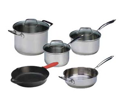 Lodge SC90SET Cast Iron Seasoned Pot & Pan Set w/ 2-Sauce Pans, 3-Lids, 2-Skillets & Stock Pot