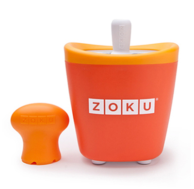ZOKU ZK110 OR Single Quick Pop Maker w/ 3-Sticks & 3-Drip Guards, Super Tool, Orange