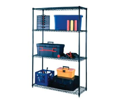 Focus 21848 Medium Duty Shelving Kit, Black Epoxy Coated, 4 Shelf, 18 D x  48 W x 74 in H
