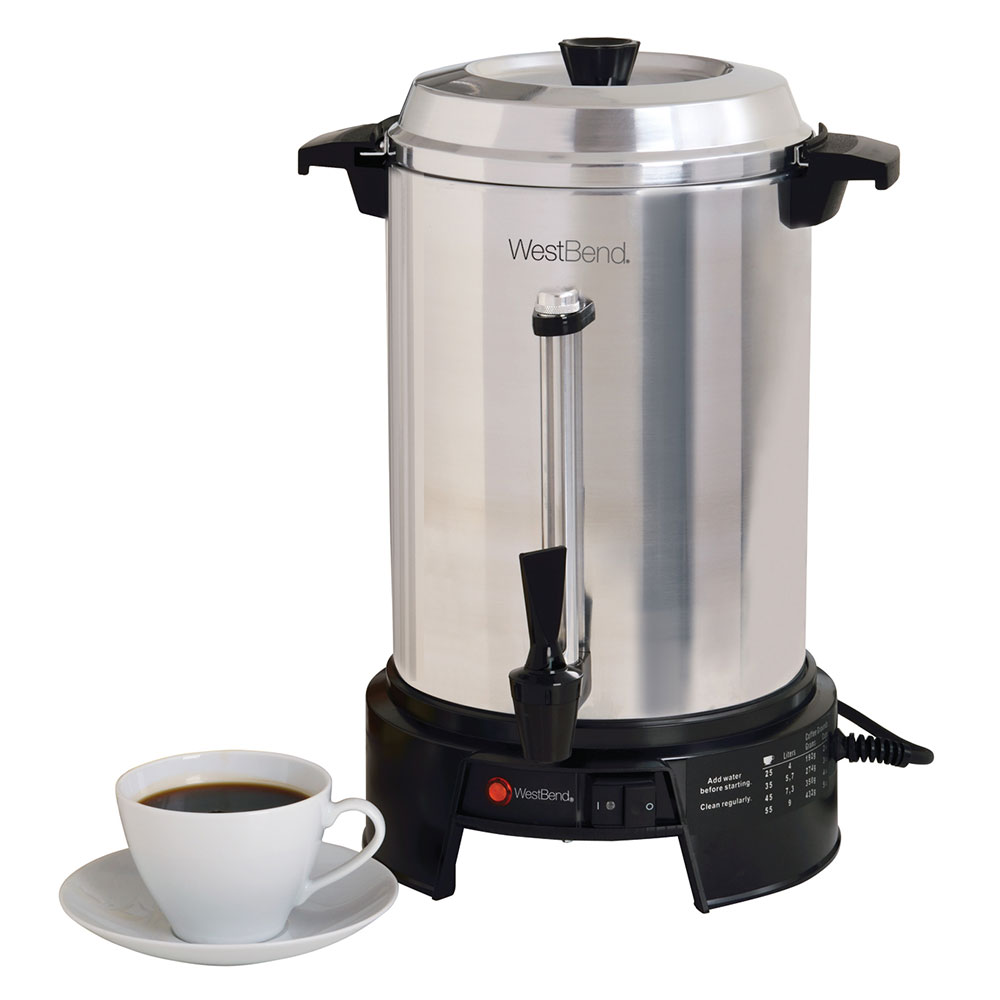 Focus 58015V Coffee Maker, 55 Cup Capacity, Aluminum Finish