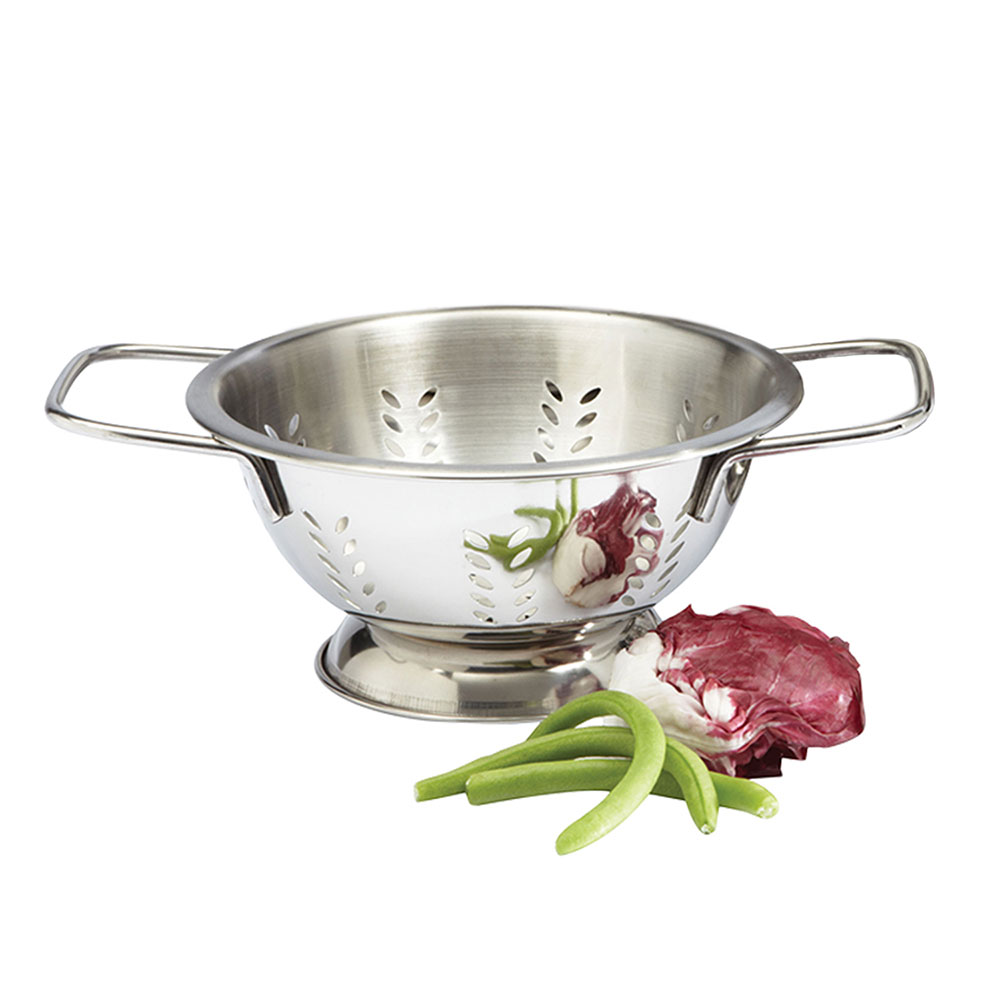 Focus 895 2-qt Colander, Footed Base, Stainless, 8 x 4-3/8-in