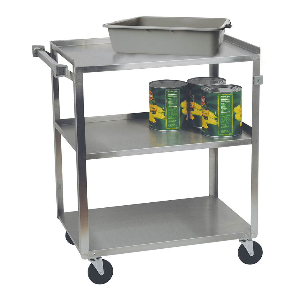 Focus 90322 Stainless Steel Cart, (3) 18 in D x 27 in W Shelves, 300 lb. Capacity