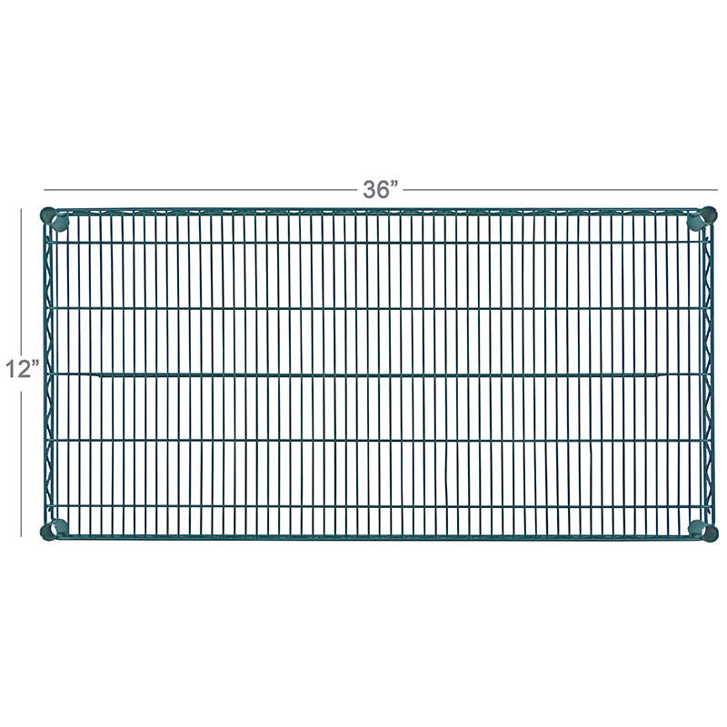 Focus FF1236GN Green Epoxy Coated Wire Shelf, 12 X 36 in
