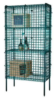 Focus FSSEC2460GN Security Cage Kit, Green, 74 in Posts, Leveling Feet, 24 in D x 60 in L