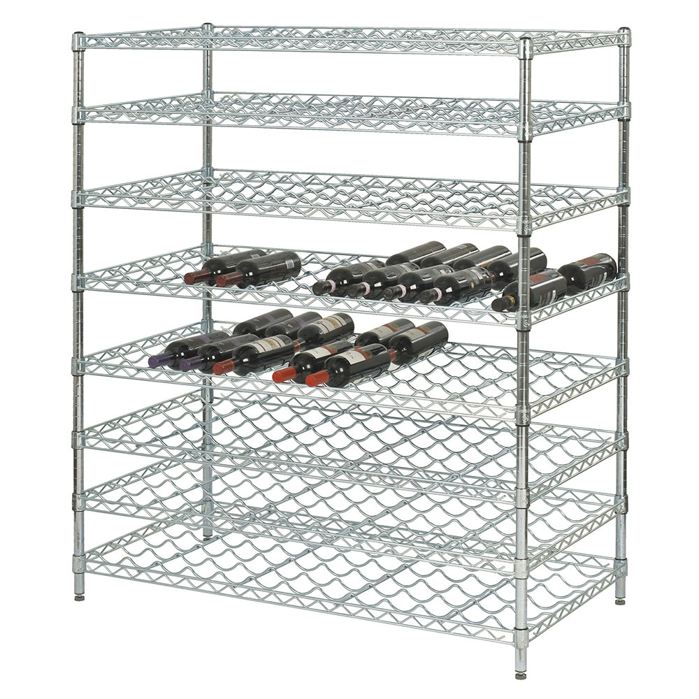 Focus FDWSK3674CH Double Wine Shelf Kit w/ 36-in Shelves, 216-Bottle, Chromate