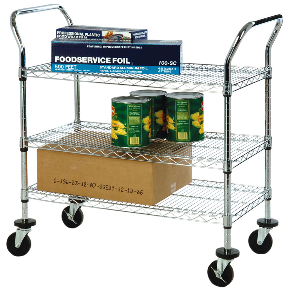Focus FFC24363CH 3 Shelf Utility Cart, Chromate, 4 in Casters, 24 x 36 x 37 in