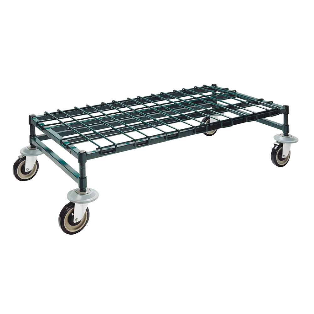 Focus FFMDR2424GN 24-in Green Epoxy Mobile Dunnage Rack w/ Wire Mat, 24-in Deep