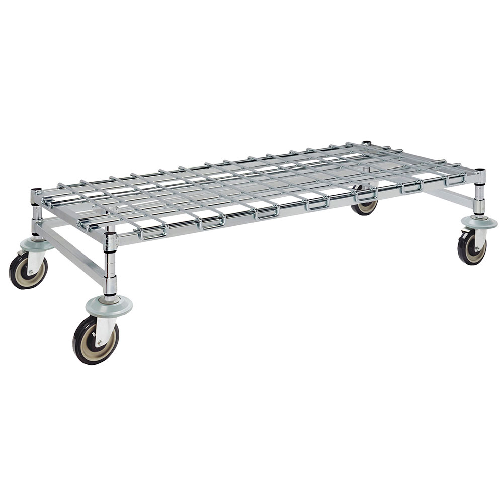 Focus FFMDR2436CH 36-in Chrome Mobile Dunnage Rack w/ Wire Mat, 24-in Deep