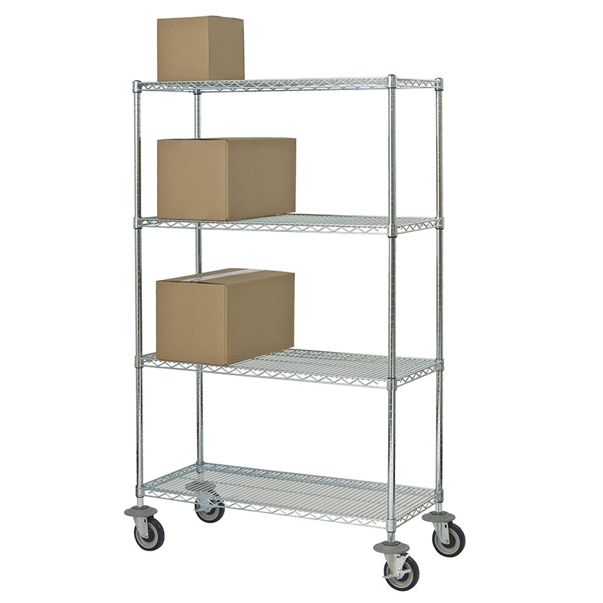 Focus FMK2460694CH Utility Cart w/ 4-Shelves & 1,200-lb Capacity, 24 x 60 x 69-in, Chromate