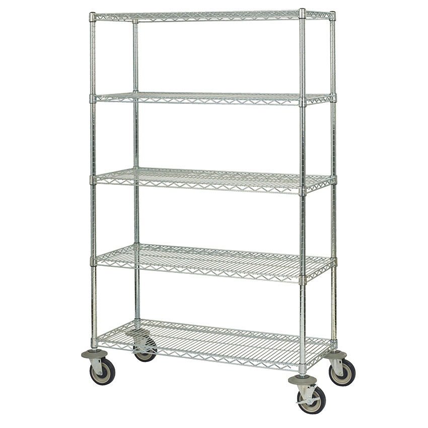 Focus FMK2460695CH Utility Cart w/ 5-Shelves & 1,200-lb Capacity, 24 x 60 x 69-in, Chromate