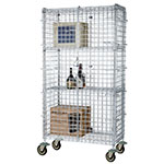 Focus FMSEC24364 Security Cage Complete Mobile Kit w/ 4-Shelves, 24 x 36 x 63-in, Chromate