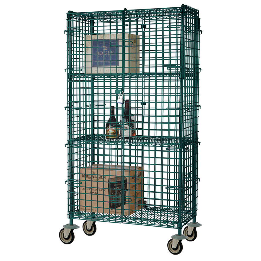 Focus FMSEC2460GN Security Cage Kit, Green, 63 in Posts, (4) 5 in Casters, 24 in D x 60 in L