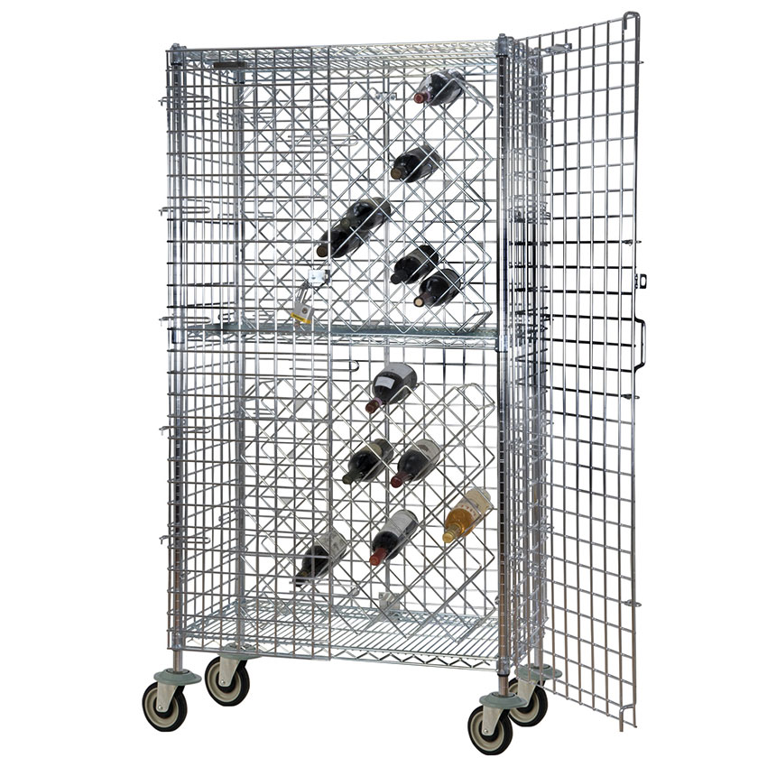 Focus FMWR1836CH Mobile Chromate Security Wine Rack, 82 Bottle Capa